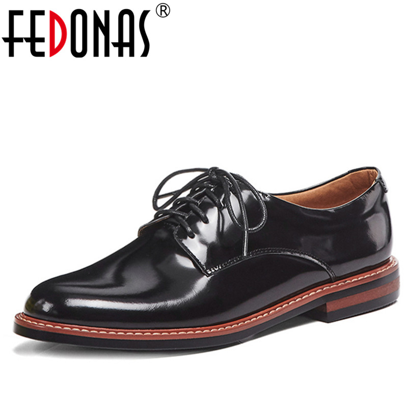 FEDONAS British Style Women Retro Genuine Leather Shoes Woman Autumn Lace Up Rome Style Low Heels Rome Pumps Top Quality Shoes e lov women casual walking shoes graffiti aries horoscope canvas shoe low top flat oxford shoes for couples lovers
