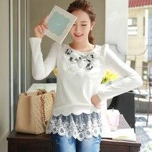 Original New Arrival 2016 Brand Autumn and Winter Lolita Plus Size Elegant Vintage Lace Women Pullover T Shirt  Tops Wholesale