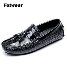 Men crocodle-like leather loafer casual shoes with tassel upper fashion style moisture-wicking antimicrobial comfort