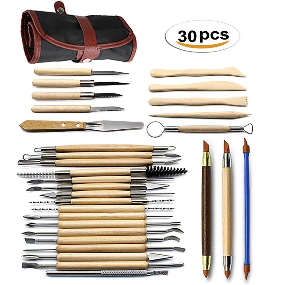 27/30 unidades arte DIY arcilla cerámica herramienta artesanía arcilla escultura kit de herramienta de cerámica y cerámica con mango de madera arcilla de modelado herramientas