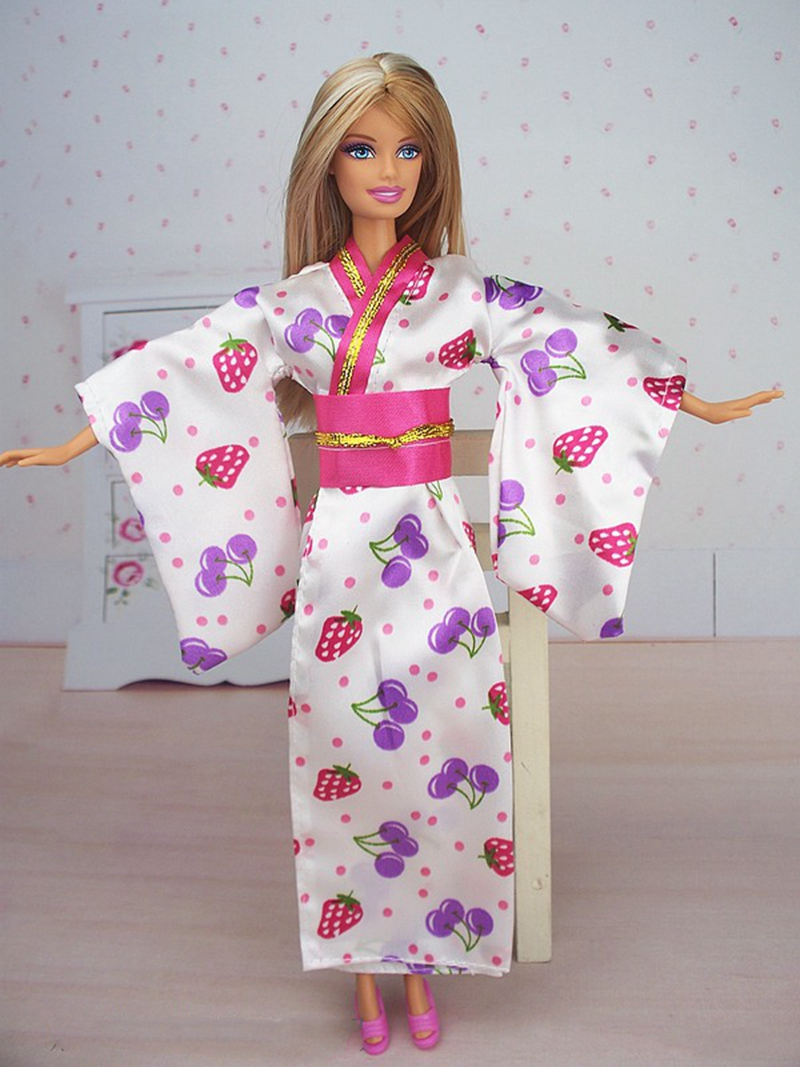 Handmade Fashion Doll Clothes Outfit Traditional Japanese Kimono Dress For Barbie Doll For 1/6 BJD Dolls Cosplay Costume
