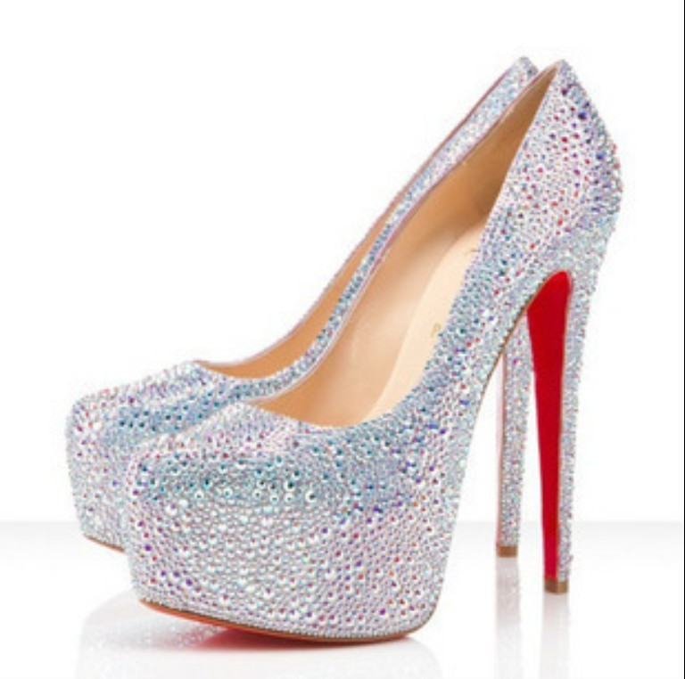 New 2014 Fashion Women Glitter Rhinestone Platform Pump High HeelS Wedding  Bridal Shoes Red Silver Color Free Shipping 1da03cc6bc