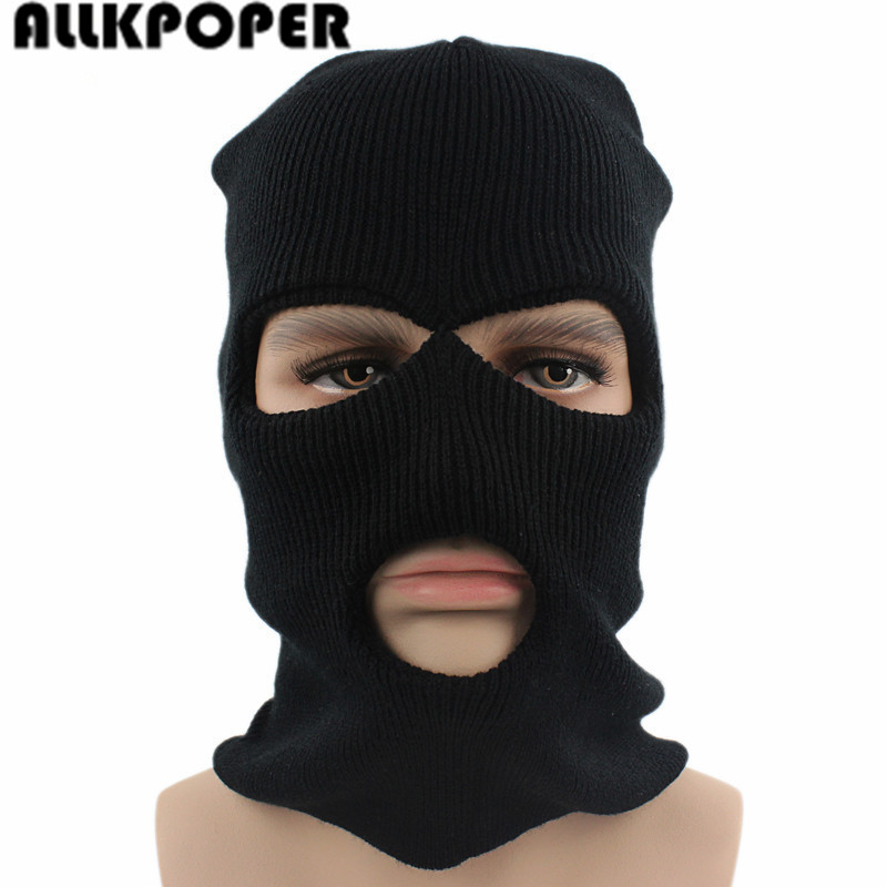 ALLKPOPER 3 Hole Ski Mask Balaclava Black Knit Hat Face Shield Beanie Cap Snow Winter Warm 2017 new full face cover mask three 3 hole balaclava knit hat winter stretch snow mask beanie hat cap free shipping