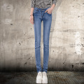 2016 spring and summer women fashion  Korean version jeans dark low-waist jeans trousers Korean female feet thin pants S2249