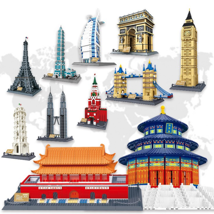 MCR Eiffel Tower Moscow Kremlin arch of triumph Big Ben The Forbid The assembly Building blocks mini legoing Toys For children new 1048pcs building blocks children lepins education toy baby gifts the spasskaya tower of moscow kremlin model building blocks