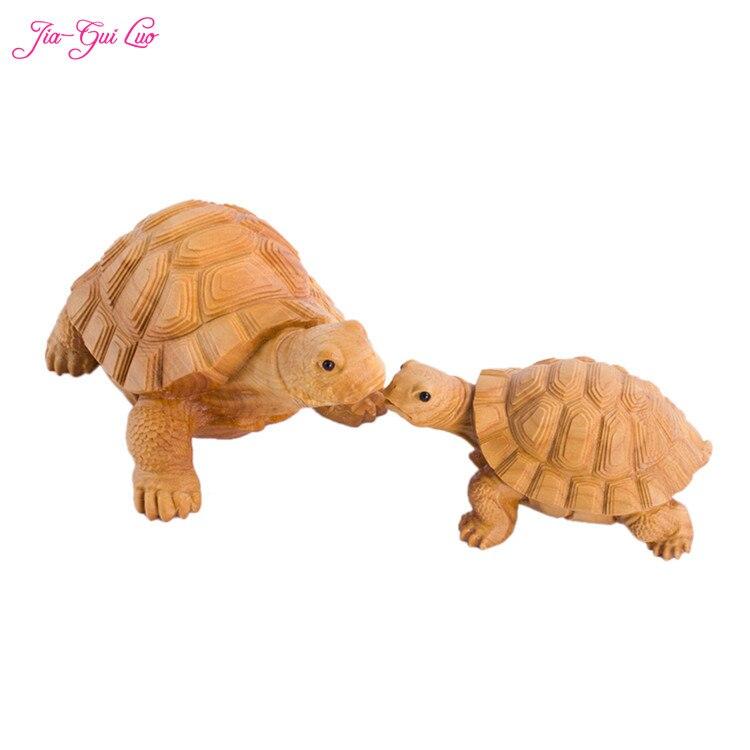 JIA-GUI LUO buis sculpture artisanat décorations pour la maison modèle animal statue jolie saint valentin cadeau tortue A012
