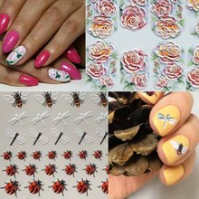 1sheet  Engraved bee 3D Acrylic Nail Sticker Embossed lace Flower Water Decals Empaistic Slide