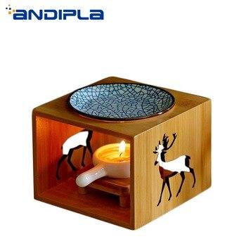 ins Style Natural Openwork Wood Shelf Ceramic Incense Burner Candles Heater Essential Oil Diffuser Yoga SPA Fragrance Lamp Decor