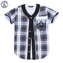 2017 Mr.1991INC Classical Plaid T-shirt Men/girls Hip Hop Jersey 3d Print Skull Summer Tops England Fashion Button Shirts