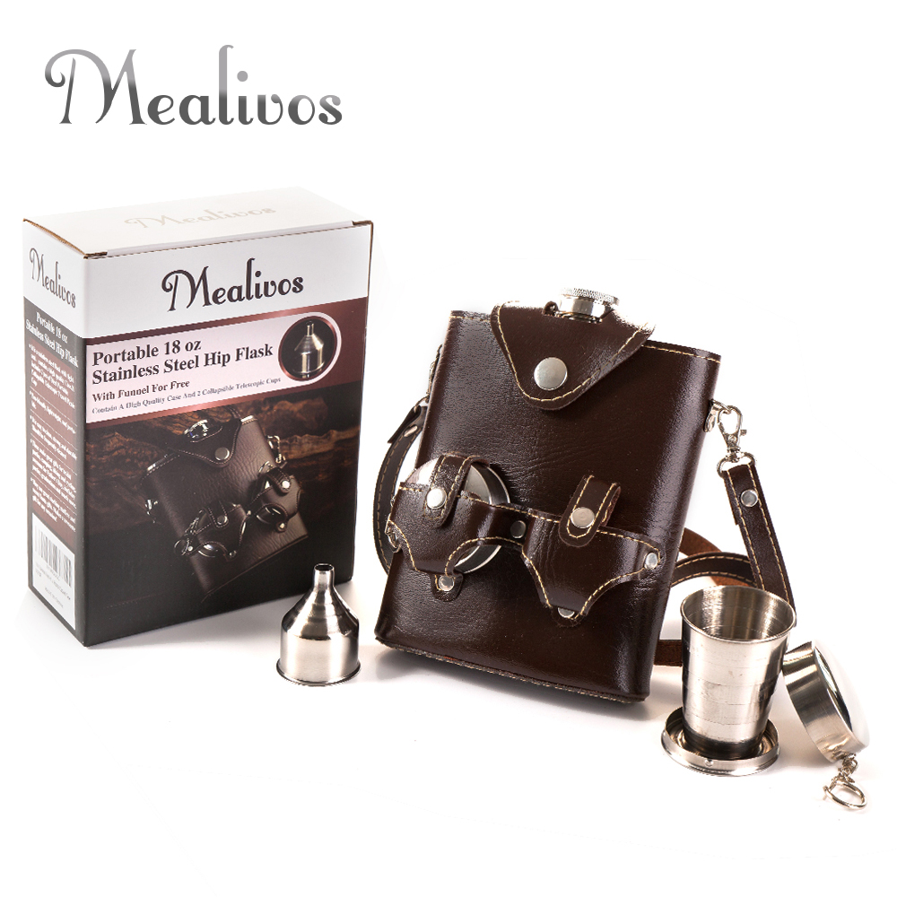 Mealivos portable 18 oz Food safe Stainless Steel Hip Flask Alcohol Liquor Whiskey vodka Bottle wine pot drinkware gifts