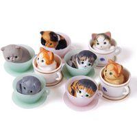 8 teile/los 3 CM mini nette kawaii original tasse tier haustier action figure set beste kinder spielzeug für jungen mädchen