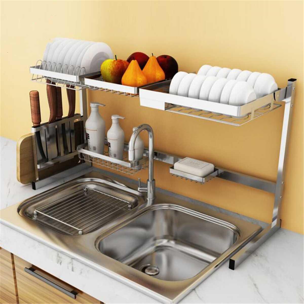 Stainless Steel Kitchen Shelf Storage Holders Bowl Dish Rack Organizer Utensils Storage Supplies Drying Bowl Sink Rack