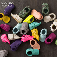 Free Shipping Tassels 26-Color PU Leather Baby Shoes Baby Moccasins Newborn Shoes Soft Infants Crib Shoes Sneakers First Walker(China)