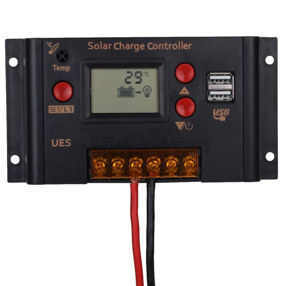 10A 12V/24V auto LCD PWM Solar Cells panel Regulator Charge Controller battery charger USB for Power System