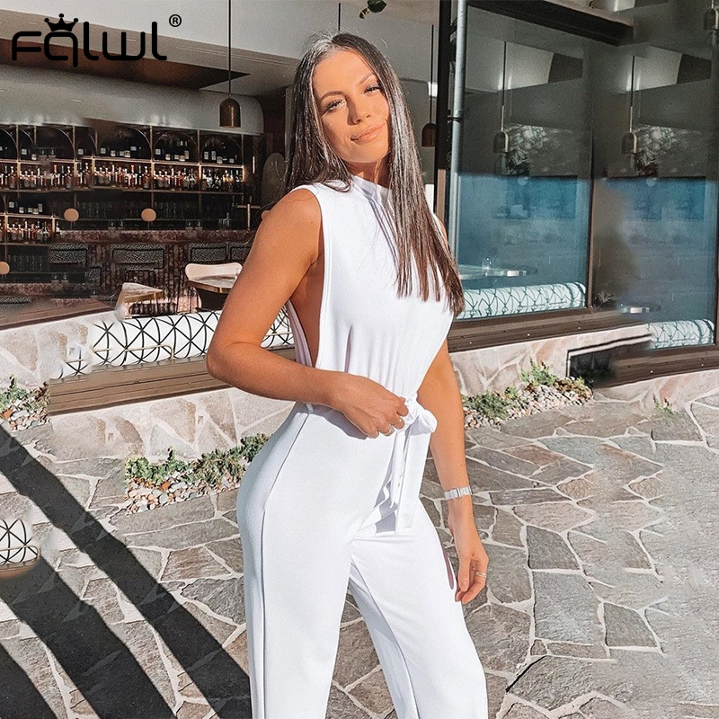 FQLWL Casual Wide Leg Summer Jumpsuit Women 2019 Sleeveless Sashes Skinny White Black Women Romper Sexy Bodycon Jumpsuit Female