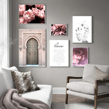Morocco Door Flower Cloud Abstract Girl Nordic Posters And Prints Wall Art Canvas Painting Pictures For Living Room Decor