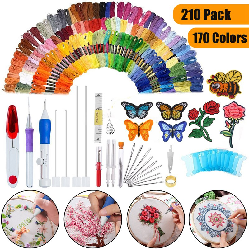 KiWarm 210 In 1 Magic DIY Embroidery Needle Pen Knitting Sewing Tool Magic Embroidery Stitching Punch Needles Pen for Women DIYKiWarm 210 In 1 Magic DIY Embroidery Needle Pen Knitting Sewing Tool Magic Embroidery Stitching Punch Needles Pen for Women DIY