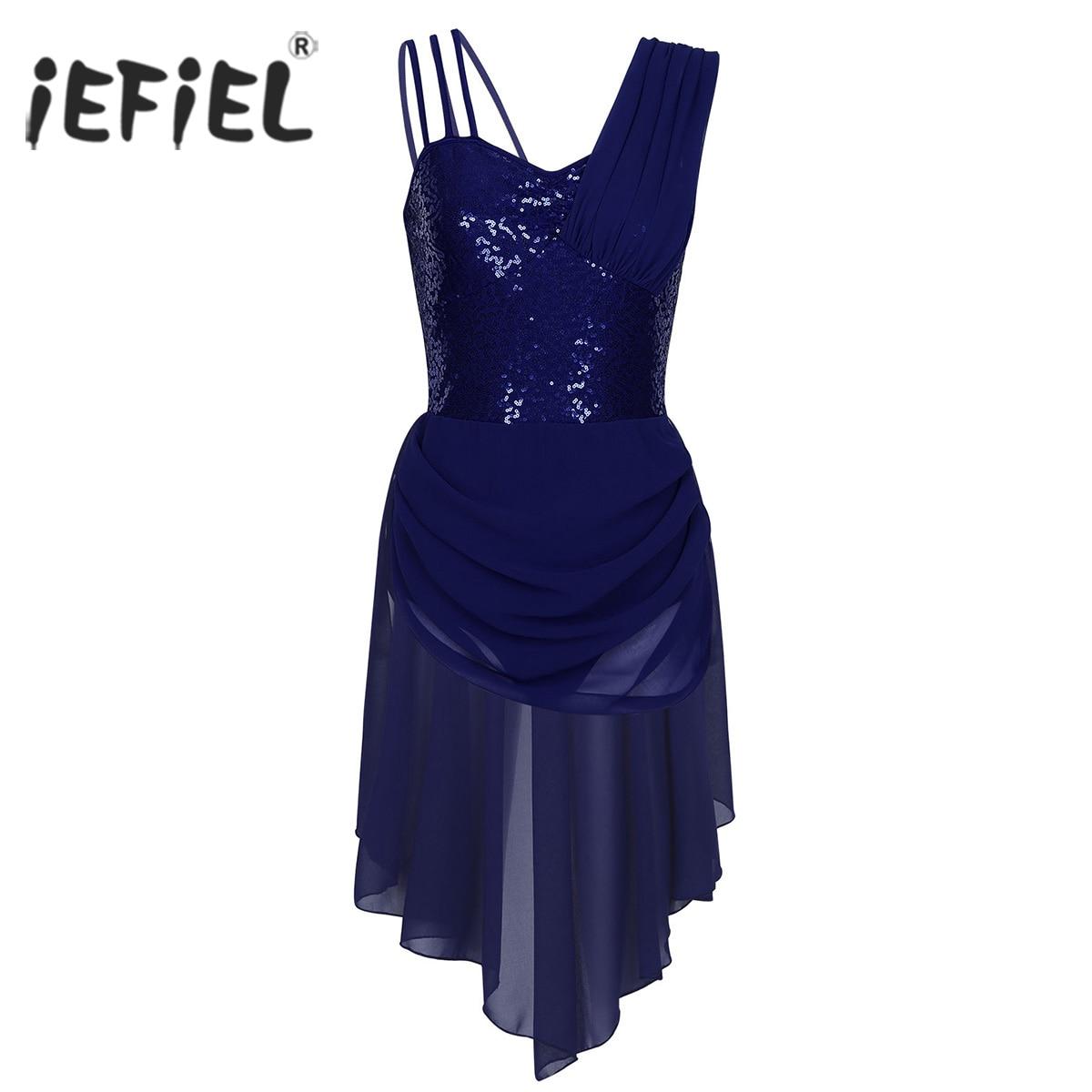 Women Stage Ballerina Adult Spaghetti Straps Performance Sequins Irregular Chiffon Ballet Dancewear Gymnastics Leotard Dress