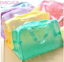 PVC cosmetic storage bag women transparent organizer Makeup pouch compression Travelling Bath bags 5 color waterproof(China)