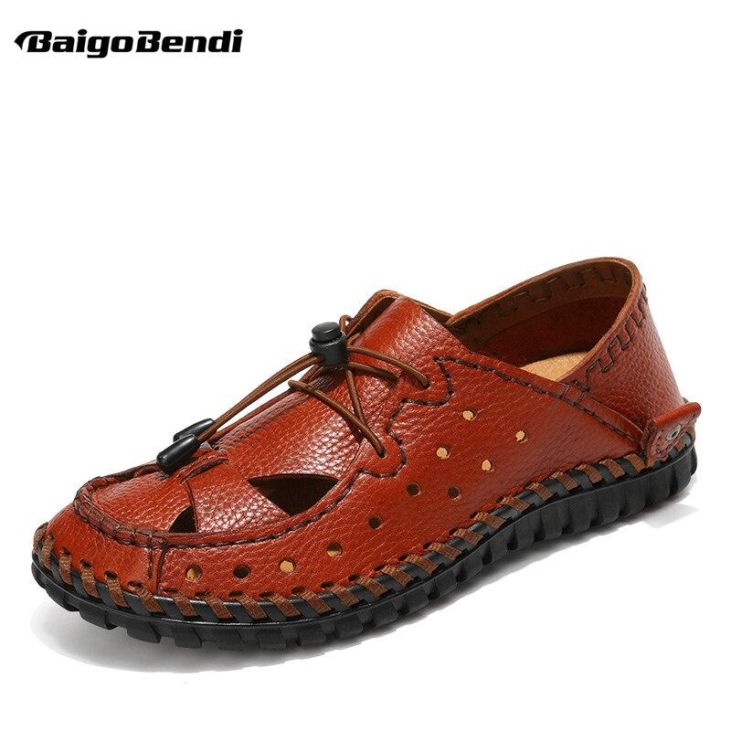 Couro Homem Deslizamento Brown Sandálias Dedo Pescador Tamanho Verão red De Sapatos Condução Perto Casuais Pé Dark Brown Slides Praia Homens Na Do Nos RP8zSqx