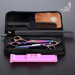 6 polegada corte de desbaste estilo ferramenta tesouras do cabelo aço inoxidável salão cabeleireiro tesouras barbeiro profissional
