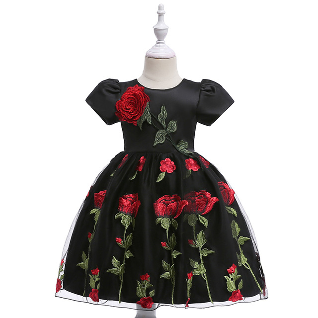 High Quality Embroidery   Flowers     Girls   Formal Evening Prom Gown   Dress   Elegant Rose   Flower     Girls     Dress