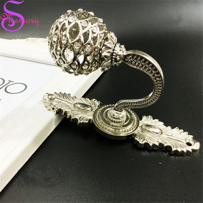 Europe Luxury Diamond Curtain Tie Back Tieback <font><b>Holders</b></font> Clothes Hat Wall Hooks Alloy Hanger Home Decor