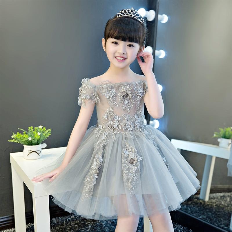 Off the Shoulder Flower Girl Dresses Appliques Knee Length Pageant Formal Dress Party Birthday Ball Gown Princess Dress B33 недорго, оригинальная цена