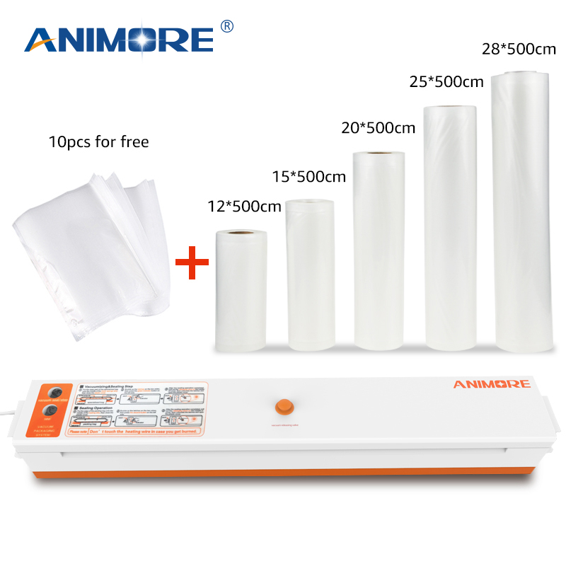 ANIMORE Vacuum Food Sealer With 5 Rolls Vacuum Sealer Bags 12X500cm 15X500cm 20X500cm 25X500cm 28X500cm