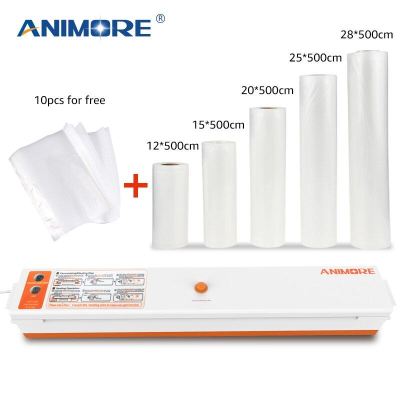 ANIMORE Vide Alimentaire Scellant Avec 5 Rolls Vide Scellant Sacs 12X500 cm 15X500 cm 20X500 cm 25X500 cm 28X500 cm