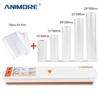 ANIMORE Vacuum Food Sealer With 5 Rolls Vacuum Sealer Bags 12X500cm 15X500cm 20X500cm 25X500cm 28X500cm