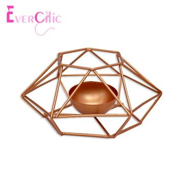 Nordic Geometric Iron Candlestick European Golden Creative Candlestick Shape Simple Shooting Props Home Polygon Ornaments