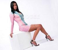 Rubber Dress BonBon Longsleeved With Front Zipper