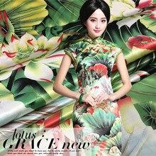 150cm heavyweight classical printed fabric high imitation silk lotus print dress chinese wholesale cloth