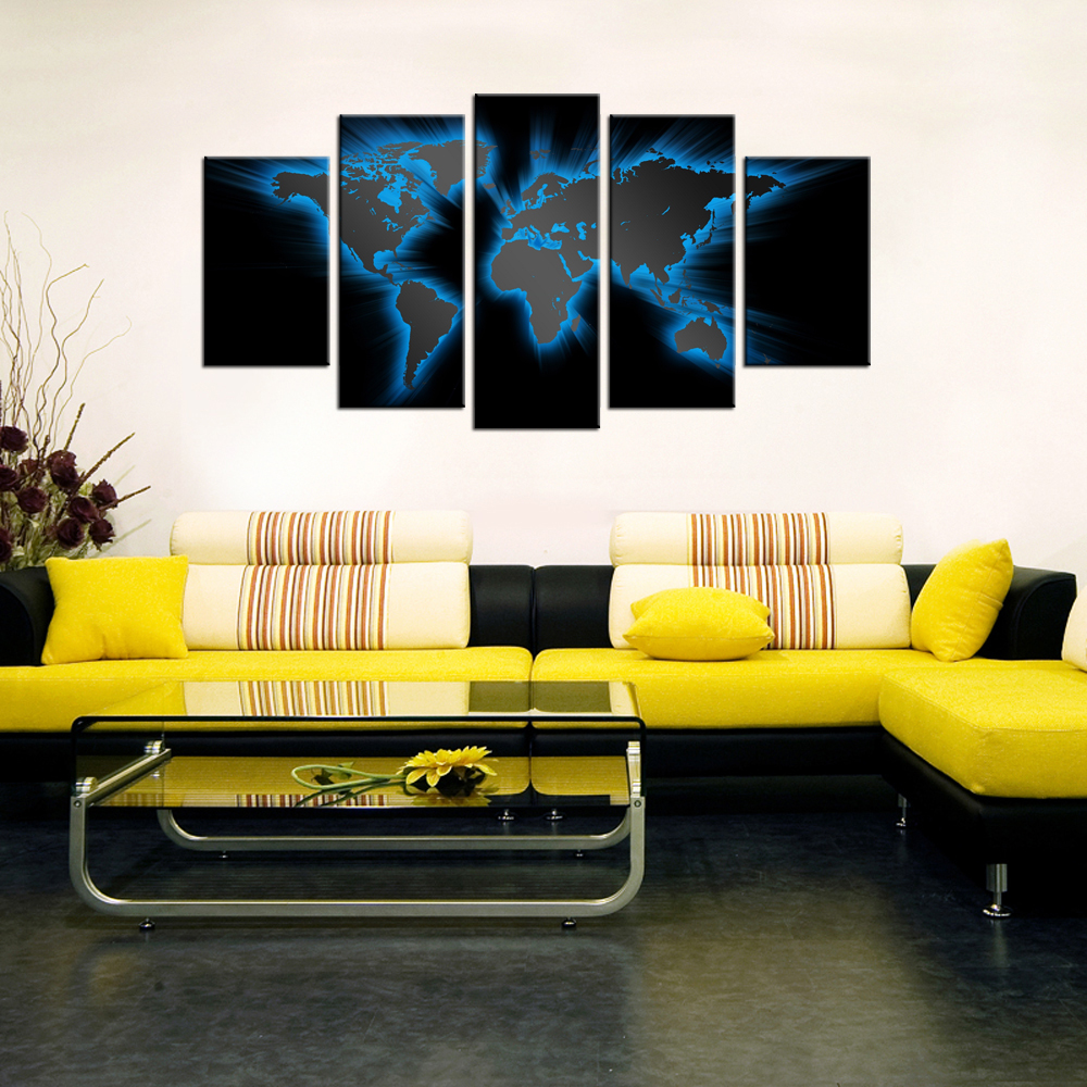 World Map Mural Modern Abstract Painting Wall Decor Art Canvas 5pcs ...