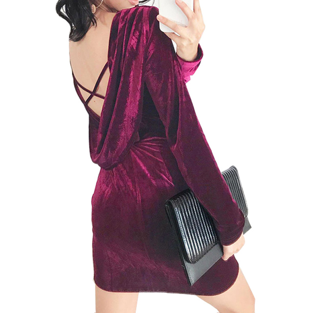 4439bcbb36f Spring Women Velvet Dress Sexy Cross Backless V Neck Office Dresses 2019  Fashion Long Sleeve Bodycon O Neck Warm Ladies Robe