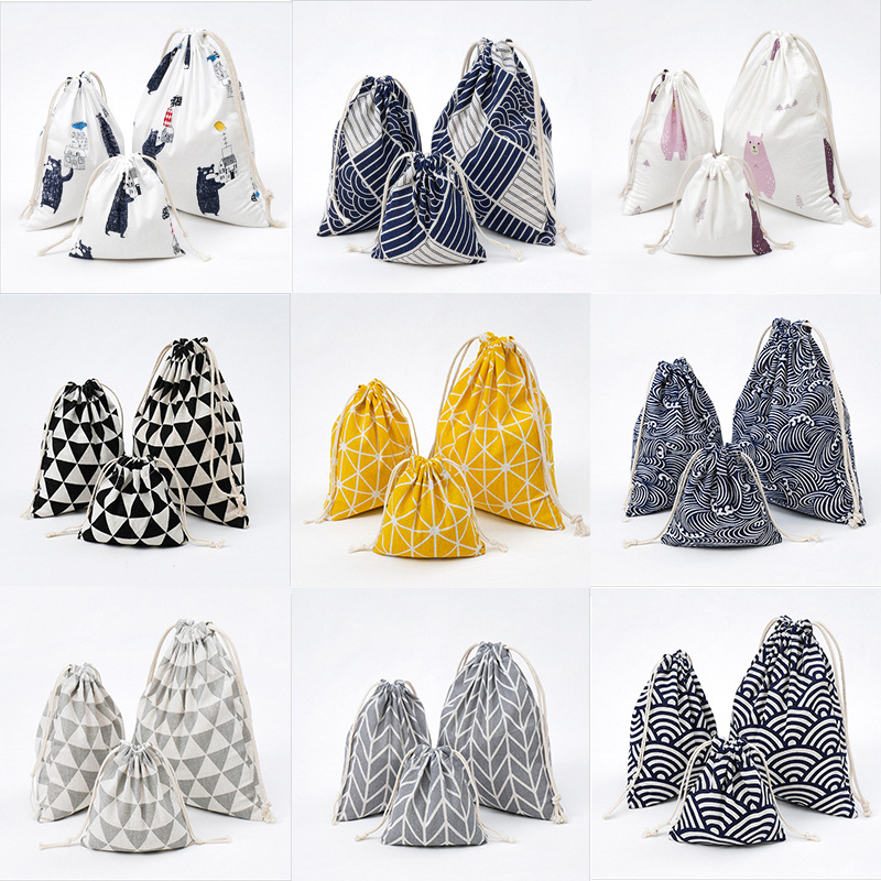 3pcs/set Japanese Style Printed Drawstring Bag Draw Pocket Storage Beam Lattice Wave Pattern Farmhouse Style Sack Bags