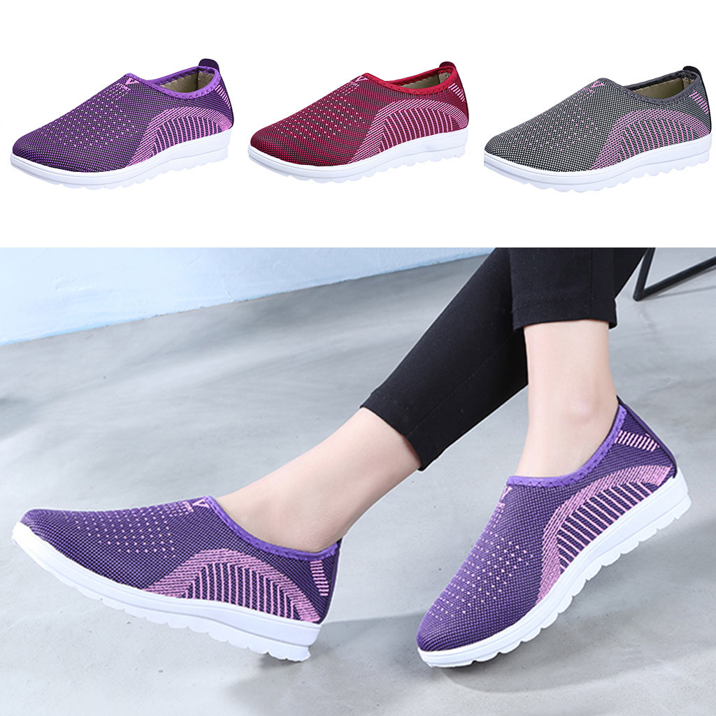 HTB1MGCFaovrK1RjSspcq6zzSXXaP MUQGEW Women's Mesh Flat shoes patchwork slip on Cotton Casual shoes for woman Walking Stripe Sneakers Loafers Soft Shoes zapato