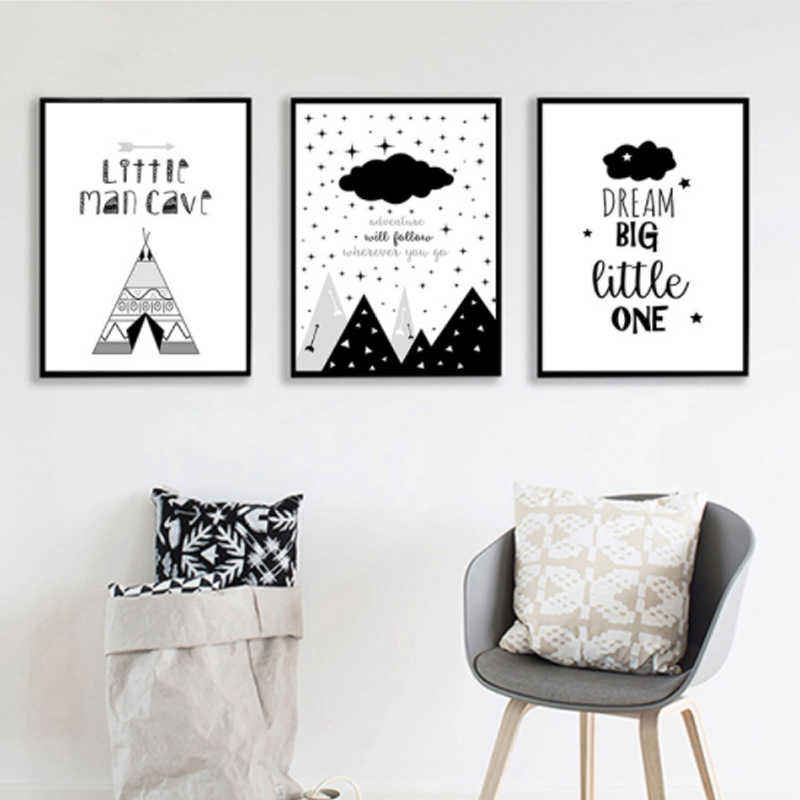 LZN Cartoon Nursery Quote Canvas Art Posters Prints Painting Black White Wall Picture for Children Living Room Decoration