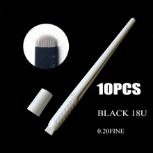 Sterilized 10pcs Eyebrow Microblading Disposable Pen with Black 16U/18U Needle Blade Manual Tattoo Microblade Tool 0.2