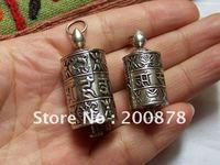 TGB125 Tibet 925 sterling argent boîte de roue de Prière, 35/41mm, Mani amulette charmes pendentif, six mots mantras, Népal bijoux faits main