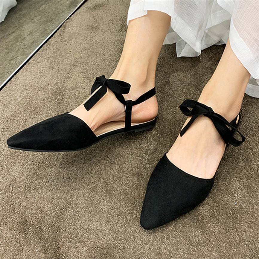 Summer Sandal Women's Fashion Casual Solid Rome Ankle Strap Buckle Sandals Pointed Flat Shoes Low Heels Sandals Femme 2019