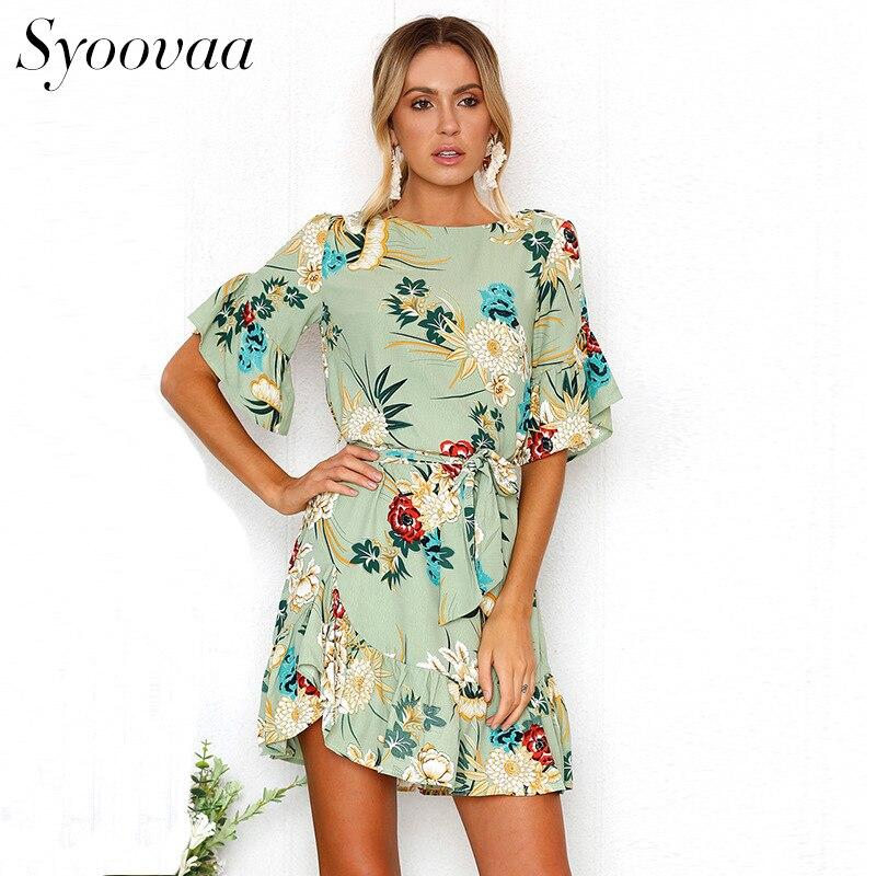 Syoovaa Casual ruffles summer dress female elegant floral print dress elegant beach short flare sleeve dress woman summer 2018