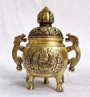 Collection chinese brass carved small buddha incense burner home art decoration Metal censer