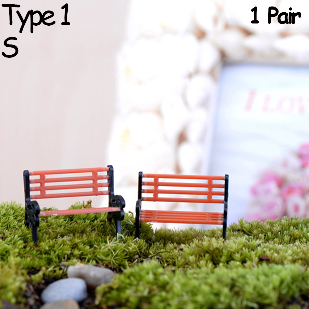 Decor Crafts Micro Landscapes Park Chair Figurines Miniature Bench Stools