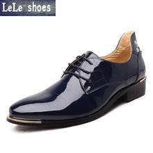 2016 New Arrival Men Oxford Dress Shoes Flats Big Size 38-48 Patent Leather Wedding Business Gentleman Fashion Hombre Zapatos