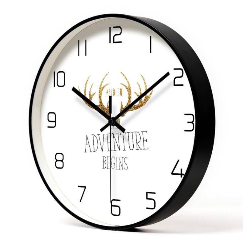 Deer Head Metal Wall Clock Art Silent Animal Wall Clock Living Room Clocks Modern Minimalist Nordic Personality Wall Clock
