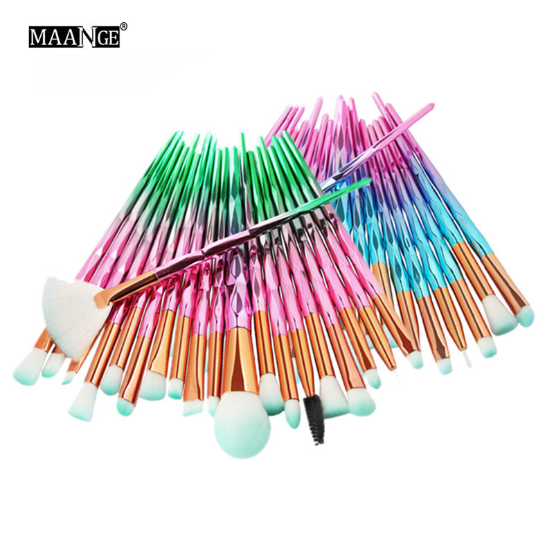 20Pcs Rainbow Diamond Makeup Brushes Rose Gold Green Pink Cosmetics Brush Pro Concealer Powder Lip Eyebrow Eyeshadow Brush Hot 11pcs diamond rose gold makeup brush set mermaid fishtail shaped foundation powder cosmetics brushes rainbow eyeshadow brush kit