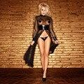 Мода Женщин Сексуальное Шею Длинным Рукавом Sheer сетки ПВХ Черный Искусственной Кожи Готический Переплетения Комбинезон Платье Размер S-2XL