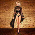 Fashion Women Sexy Round Neck Long-Sleeve Sheer mesh PVC Black Faux Leather Gothic Weave Catsuit Dress Size S-2XL
